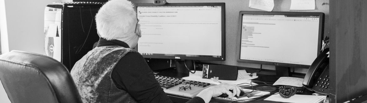 Picture of CCDCs Community Organizer working on her computer
