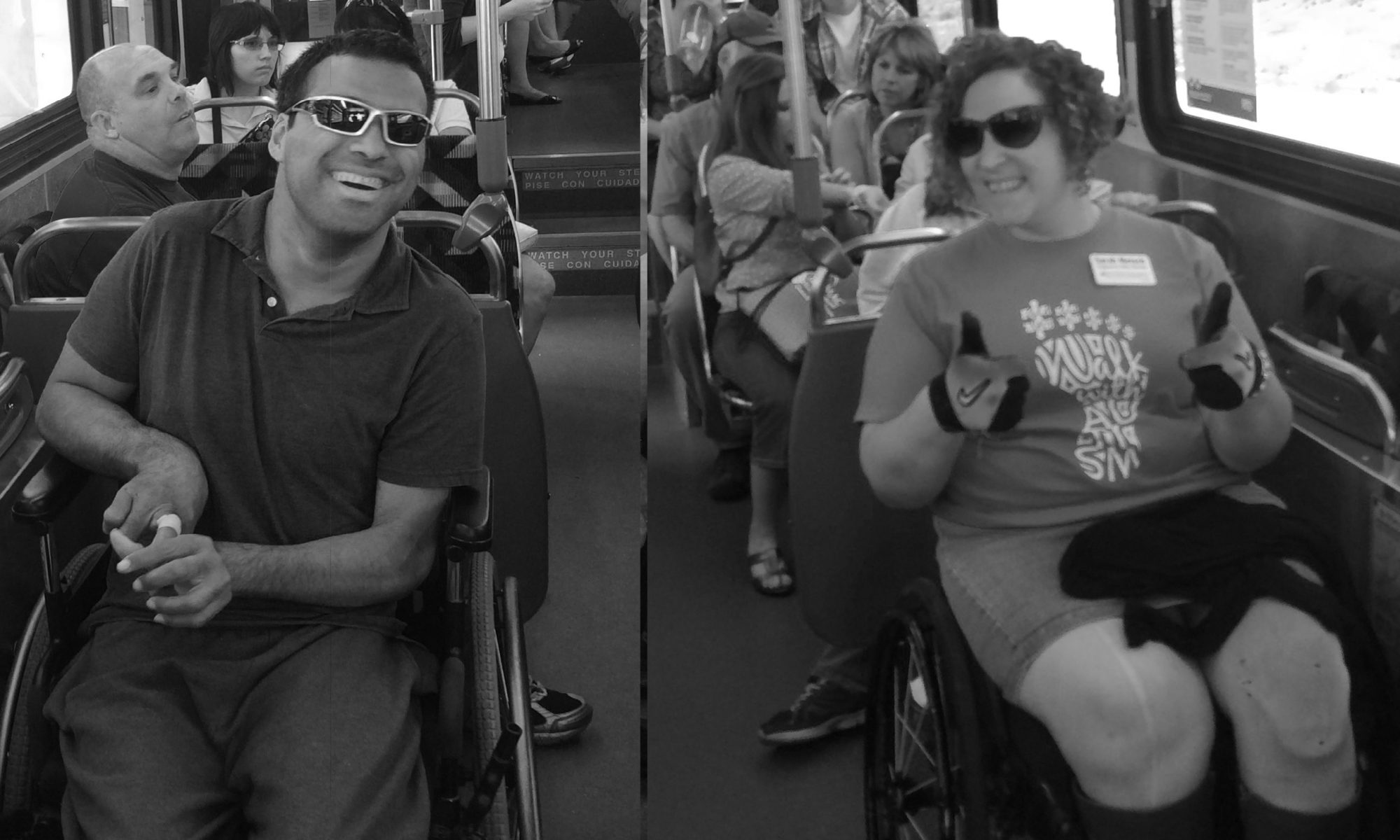 Two passengers sitting on their wheelchairs inside a bus