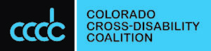 CCDC Logo blue and black with the letters CCDC and the words Colorado Cross-disability Coalition