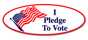 Sticker-like logo that says I Pledge to Vote and links to the pledge page.