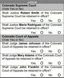 Picture here is an example of one page of a ballot that shows the section about retaining judges.