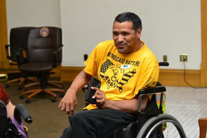 Advocating for disability rights, Jose at the State Capitol in 2018