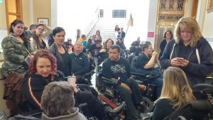 People with Disabilities waiting for a bill hearing