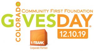 Logo of 2019 Colorado Gives Day. Text reads: Community First Foundation Colorado Gives Day 12.10.19 with 1st Bank Corporate Partner logo below