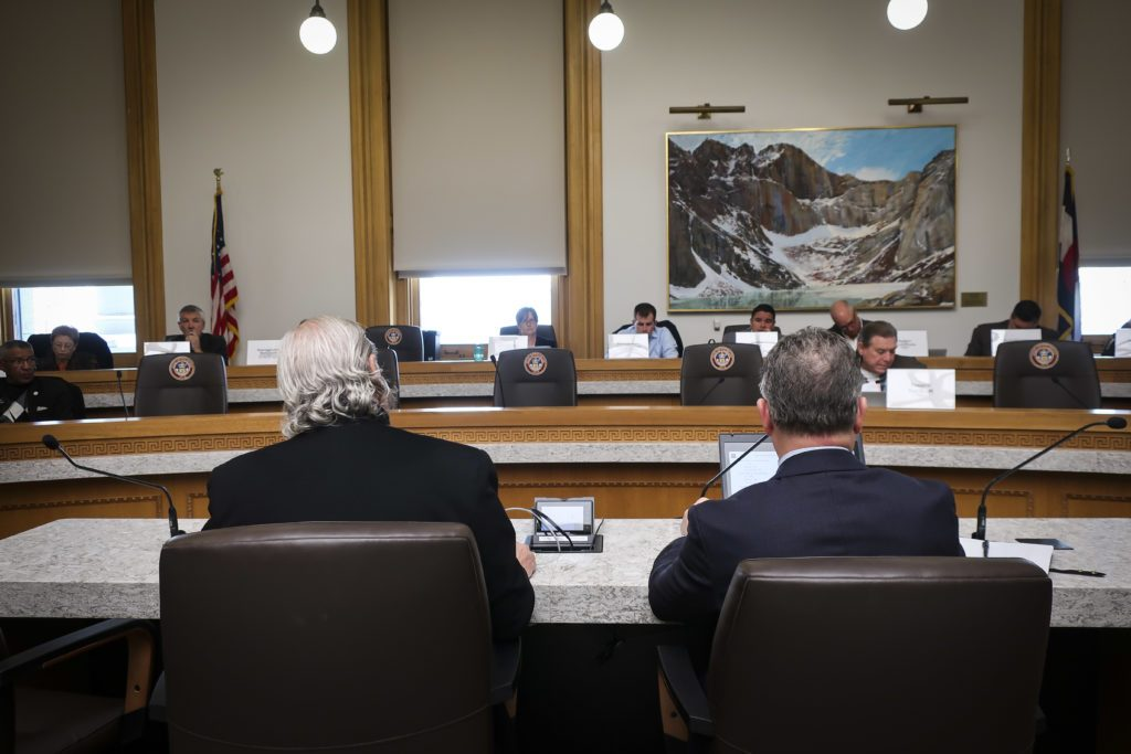 RTD Board Chair Doug Tisdale, left, and General Manager Dave Genova, right, speak to the state Transportation and Legislative Review Committee on Monday, Oct. 28, 2019