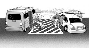 ADA graphic showing access aisle with two vehicles parked adjacent to it and individual using wheelchair lift exiting vehicle into access aisle