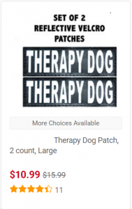 "Screen clipping of patches reading ""THERAPY DOG"" that available at chewy.com for $10.99 for a set of two."