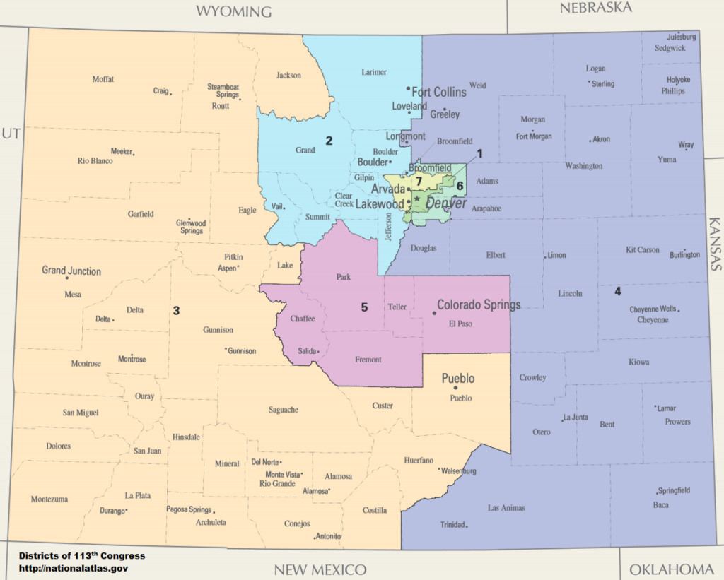 A map showing the congressional districts of Colorado.CD 1 Diana DeGette:  Denver  CD 2 Joe Neguse: Boulder to Ft. Collins and Eastern Mountains CD 3 Scott Tipton: Entire Western Slope and Pueblo CD 4 Ken Buck: Northern Colorado including Greeley CD 5 Doug Lamborn: Colorado Springs to Salida CD 6  Jason Crow: Aurora to Centennial CD 7 Ed Perlmutter: Most of Jefferson & Adams