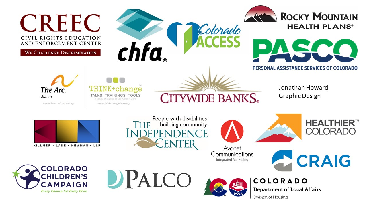 ADA 30th event sponsor logos including: CREEC, CHFA, Rocky Mountain Health Plans, The Arc of Aurora, Think + Change, Citywide Banks, PASCO, Jonathan Howard, Killmer Newman and Lane LLP, The Independence Center, Avocet Communications, Healthier Colorado, Craig Hospital, Colorado Children's Campaign, PALCO and Dept of Local Affairs Division of Housing