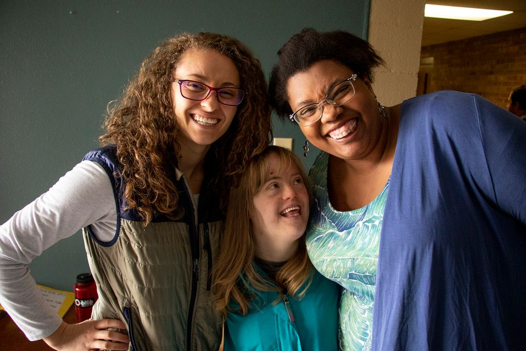Bryn Baldassari and Lexi Ziegler (left and right) pose for a photo with Rachel. Stepping Stone at the Columbine Hills Church of the Nazarene, Littleton, April 6, 2019. (Kevin J. Beaty/Denverite)