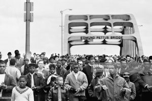Civil Rights March showing the many people who crossed the Edmund Pettus Bridge